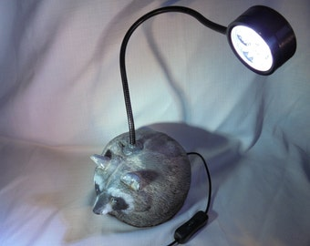 Raccoon Stone Reading, Study, Desk Lamp,Statuary, Home Decor, SHIPPING INCLUDED