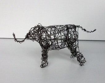 Handmade Wire Sculpture - BABY ELEPHANT - Wire Animal Sculpture