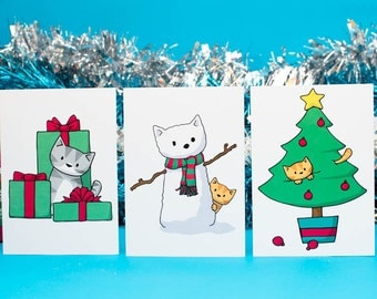 6 Christmas Cat Scenes Christmas Cards