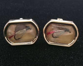 Fly Fishing Cufflinks Fishing Lure Cufflinks Men's Jewelry Signed Swank Fisherman Cuff Links