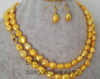 Pearl Set- 8-9mm gold baroque pearl long necklace & earrings set
