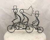Bride and Groom Tandem and Trainer Bike Wedding Cake Topper
