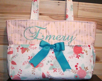 Diaper bag, handbag, purse, book..Floral N Light Pink With Gold Arrows..with Name and Bow. Match your carseat canopy(see fashionfairytales).