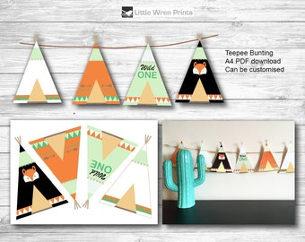 Wild One Banner, Wild One Garland, Teepee bunting, Tribal Party, Wild One party decoration, pow wow, wild one decoration, wild one bunting