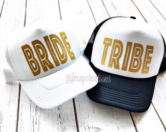 BRIDE HAT | Bride and Tribe Party Hat |Bachelorette Party Neon Truck Hats | Bridesmaid Hats | Bachelorette Trucker Hats | Maid of Honor Hat