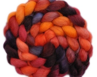 Hand painted wool roving - Wensleydale wool combed top spinning fiber - 4.2 ounces - Crackling Fire