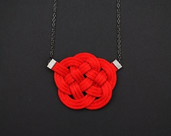 Red necklace, knot necklace, red nautical necklace, knotted necklace, fiber necklace, satin cord necklace, japanese style, summer trends