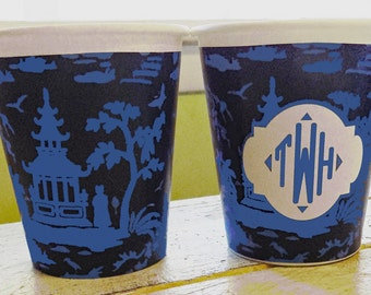Personalized or Plain Navy and Blue Chinoiserie Hot/Cold Paper Party Cups - Set of 12