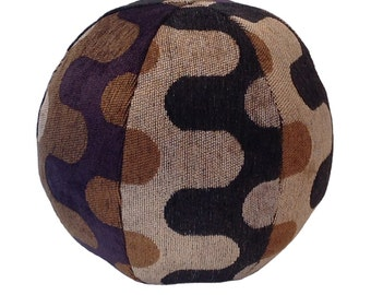 Jigsaw Ball Throw Pillow- Round pillow- Black and Brown- Contemporary waves- by beckyzimmdesign