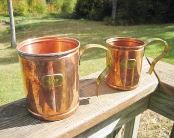 Pair of Copper Mugs Cups w/ Brass Handle Liter & 1/2 Liter Marks Made in Portugal