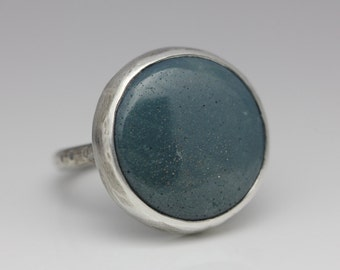 Leland Blue and Sterling Ring, Unisex, Blue Green, Artisan Ring, Size 7.25