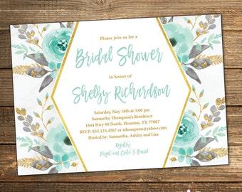 Mint Bridal Shower Invitation, Bridal Shower Invitation, Mint and Gold, Wedding Shower Invitation, Gold Glitter (PRINTABLE FILE)