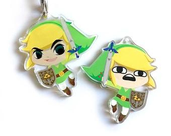 Link Lonk Reversible Legend of Zelda Acrylic Charm Keychain