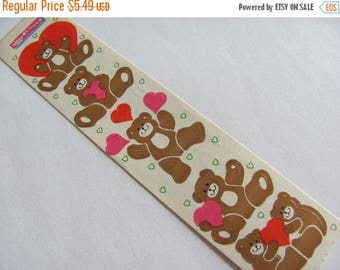 SALE Teddy Bear and Hearts Vintage Cardesign Toots Stickers - Retro 80's Love