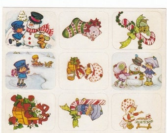 SALE Vintage American Greetings Strawberry Shortcake Holiday Sticker Sheet - AGC Cartoon Pupcake Custard Cat Blueberry Muffin Christmas