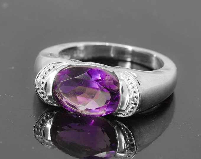 Amethyst Ring, 2.4 ct, Purple, Oval, Birthstone Ring, February, Gemstone Ring, Sterling Silver Ring, Solitaire Ring, Statement Ring