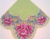 Green Hanky with Pink Floral Border - Cotton Flower Handkerchief - Green Hankie with Pink, Blue, Yellow, and Green Flower Border