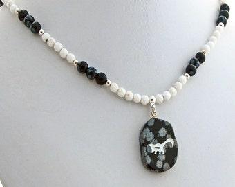 Snowflake Obsidian Skunk Magnesite Pendant Necklace Natural Stone
