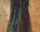 80s Indian gauze black, green and gold tie dye hippie / boho summer dress