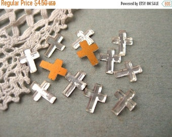 SALE Vintage Tiny Crystal Cross Cabochons Flat Back Germany Foiled 8x6mm (12)