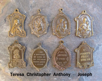 Brass Ox 2-Sided Religious Saint Charm Medal YOU CHOOSE Joseph Anthony Teresa Christopher (1)