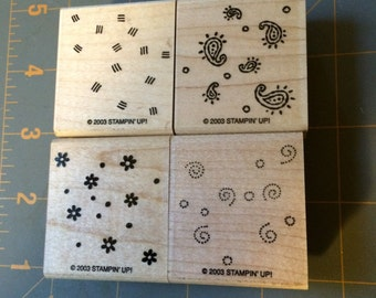 Stampin Up wood mounted stamps FRESH FILLERS Set of 4  2003