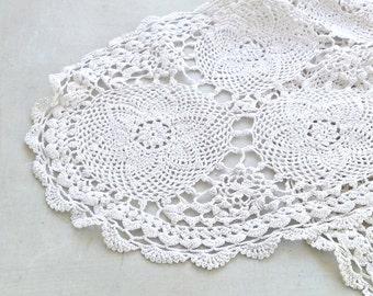 Vintage Crochet Runner, Long Oval Crocheted Tablecloth, White Doily, Shabby Rustic Table Cover, Dresser Top, Vanity Desk Decor Wedding Decor