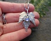 Woodland Leaf Necklace - Tanzanite - Elven Leaf Necklace - Botanical Jewelry - Real Leaf Necklace - Silvan Leaf