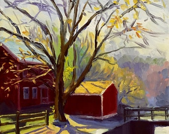 Canal Crossing Vibrant Plein Air Landscape Oil Painting on Canvas