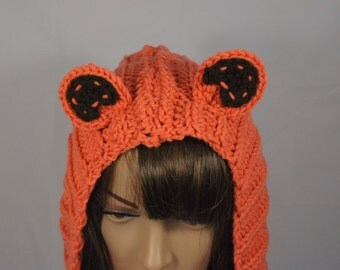 Women's Crochet Snood Orange Bear MADE TO ORDER