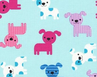 Puppies on Aqua from Robert Kaufman's Urban Zoologie Collection by Ann Kelle