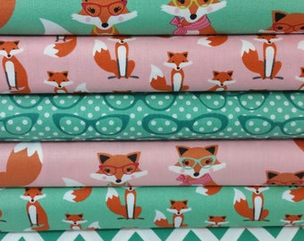 Seafoam and Pink Fabulous Foxes Fat Quarter Bundle from Robert Kaufman by Andie Hanna - 6 Fabrics