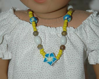 Doll, necklace, american, made, girl, jewelry, accessories, 18 inch doll, tropical, flower, 15