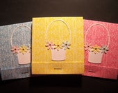 Set of Three Basket with Flowers Matchbook Post Its