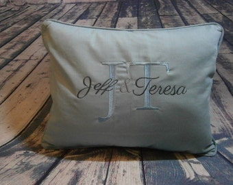 Embroidered Personalized Pillow 16 x 20, Monogrammed Pillow, His and Hers pillow, Blue Pillow