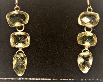 Yellow Citron Crystal Earrings - 3 Tiers Hanging Drops- Set in Sterling Silver