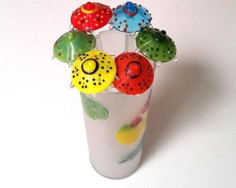 70s UMBRELLA Swizzle Sticks - Set of 6 Drink Stirrers - Vintage Swizzle Sticks - Summer Party