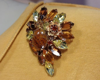 Hattie Carnegie? Designer Quality Rhinestone Brooch Stone Matrix Cab & Small Pink Enamel Layered Flower Mid Century Jewelry Gift for Her