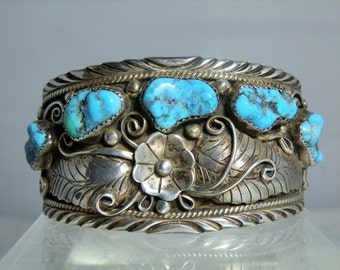 Vintage Navajo Cuff Bracelet Sterling Silver and Turquoise by Kamisha Begay-Siminoe Excellent Silver Work Great Quality Turquoise
