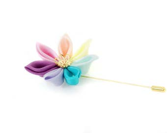 Rainbow Wedding Lapel Pin - Mens Wedding Buttonhole - Grooms Groomsmen Wedding Boutonniere - Pastel Rainbow Buttonhole - Rainbow Boutonniere