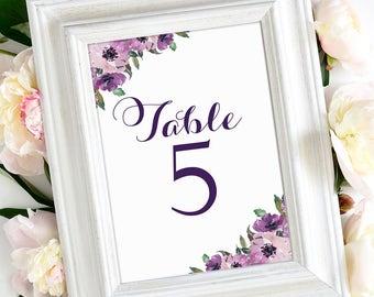 Table Number Cards 1 through 30   Vintage   Eggplant Script   Purple Blooms   4 x 6   Set of 30   Instant Download