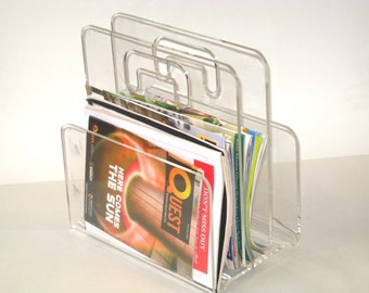 Vintage Lucite Magazine Rack LP Holder -Mid Century Modern Clear Acrylic Stand