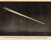 1912 BEAUTIFUL COMET 1841, 420 Original Vintage Space Astronomy Print