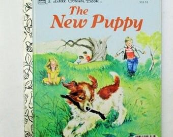 HOLIDAY SALE 60% Off Vintage The New Puppy, A Little Golden Book, Rare Collectible children's Book