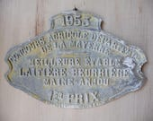 Vintage French Award Plaque 1953 French Agricultural Prize Plaque Vintage French Trophy French Metal Sign