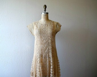 1920s lace dress . vintage 20s embroidered net dress