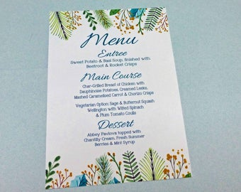 Woodland Menu, Set of 10,  Wedding Menu, Rehearsal Dinner,  Luncheon , Green Teal Leaf Menu, Bridal Shower Menu, Garden Botanical menu, 5x7,