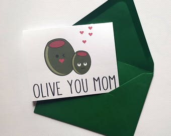Olive You Mom - Mother's Day Single Thank You Card with Matching Green Envelope