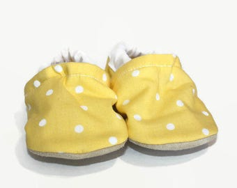 yellow baby shoes yellow baby booties vegan baby shoes soft sole shoes newborn booties polka dot girl shoes toddler slippers newborn