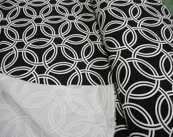 Geometric Swirl Canvas Fabric in Black and White, Circles, Rings, Cotton, Home Decor